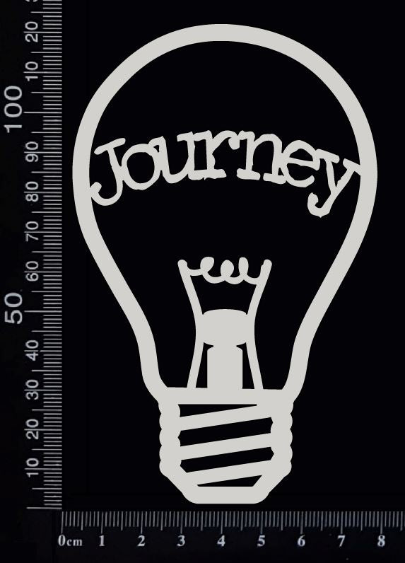Word Bulb - Journey - B - White Chipboard