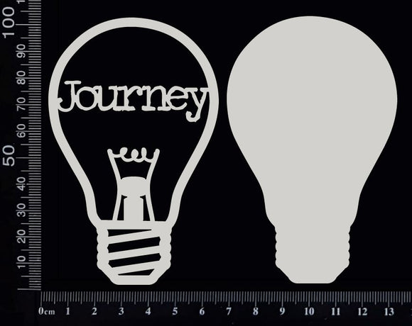 Word Bulb - Journey - D - Layering Set - White Chipboard