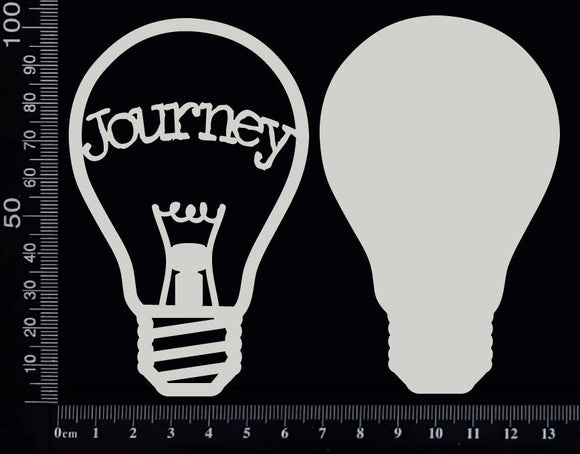 Word Bulb - Journey - E - Layering Set - White Chipboard