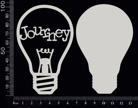Word Bulb - Journey - F - Layering Set - White Chipboard