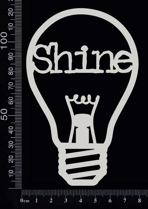 Word Bulb - Shine - A - White Chipboard