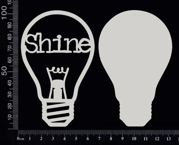 Word Bulb - Shine - D - Layering Set - White Chipboard
