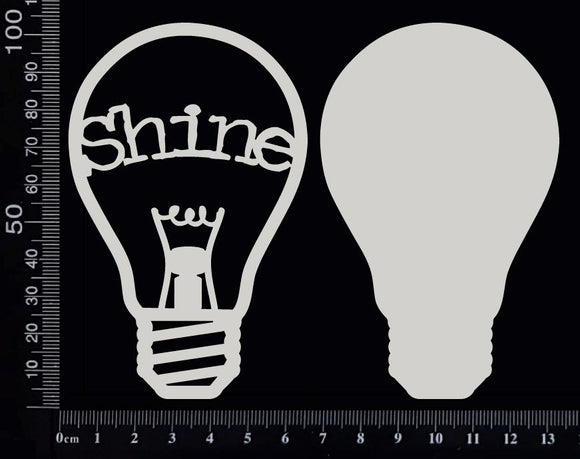 Word Bulb - Shine - E - Layering Set - White Chipboard