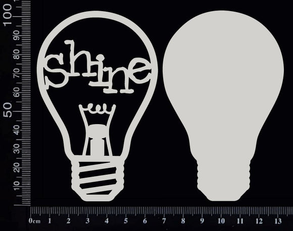 Word Bulb - Shine - F - Layering Set - White Chipboard