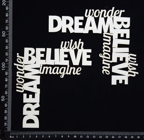 Word Corner Set - Believe - White Chipboard