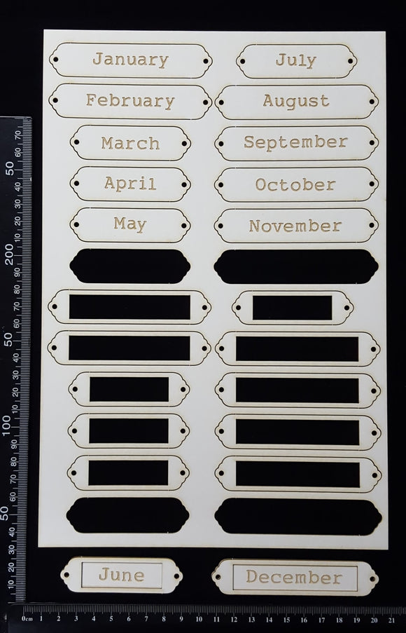 Laser Engraved Word Plates - CG - Months - White Chipboard
