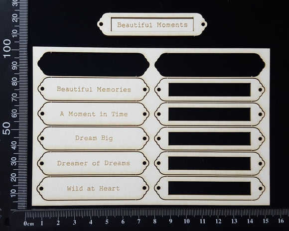 Laser Engraved Word Plates - BA - White Chipboard