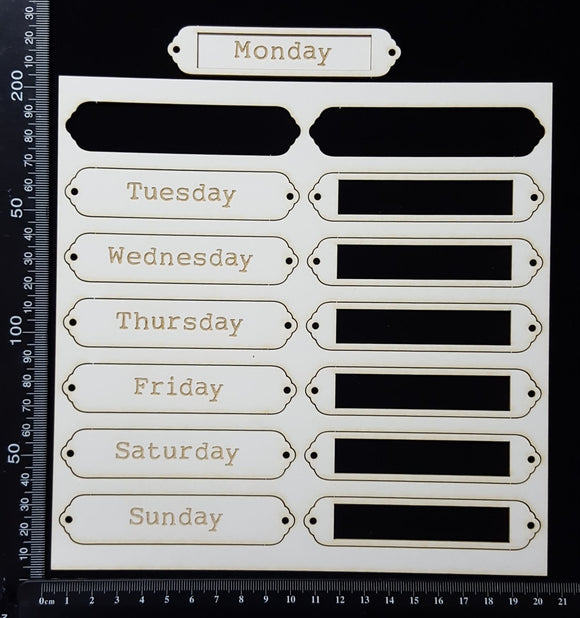 Laser Engraved Word Plates - CH - Weekdays - White Chipboard