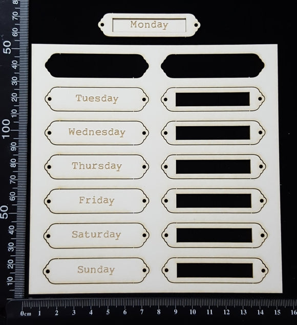 Laser Engraved Word Plates - BF - Weekdays - White Chipboard