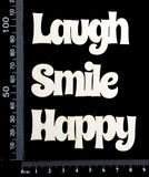 Word Set - Happy Smile Laugh - White Chipboard