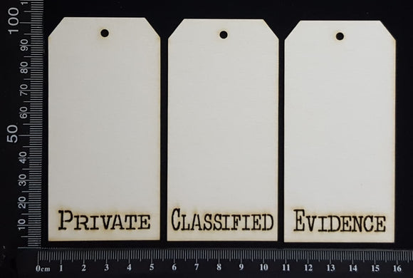 Word Tags - Small - Private Classified Evidence - A - White Chipboard