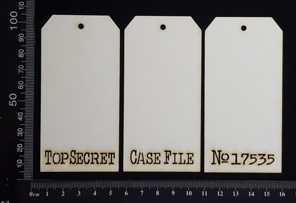 Word Tags - Small - Top Secret Case File No 17535 - A - White Chipboard