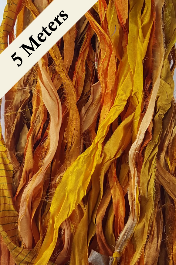 Reclaimed Sari Silk Ribbon - Yellow/Gold - 5m Pack