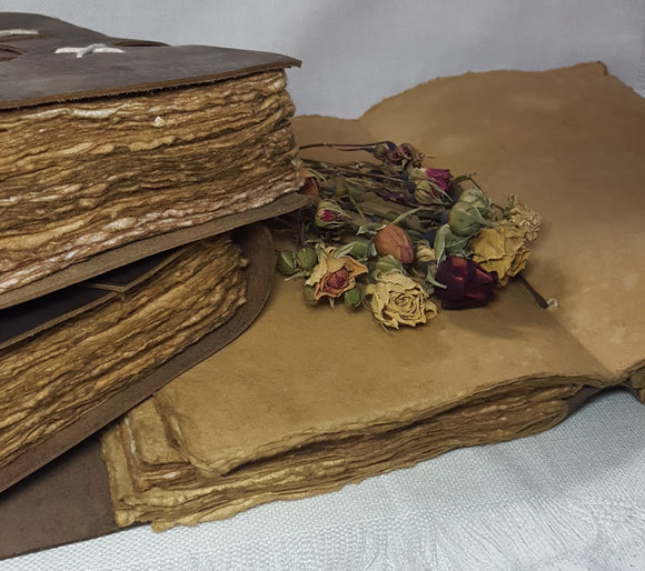 Leather Bound Journal with Handmade Paper - 17cm x 24cm - (L-WRAP-0001)