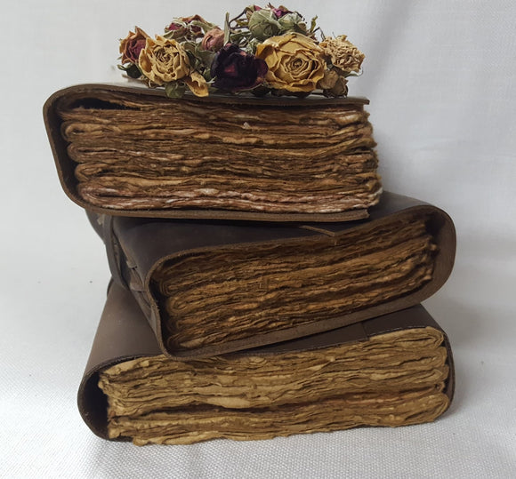 Leather Bound Journal with Handmade Paper - 15cm x 20cm - (S-CROSS-0003)