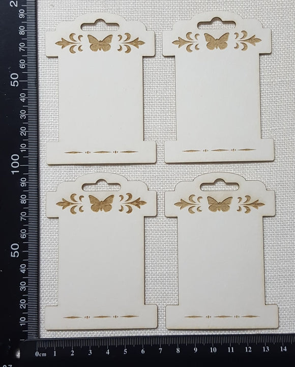 Laser Engraved Detailed Bobbins - Set of 4 - Large - White Chipboard
