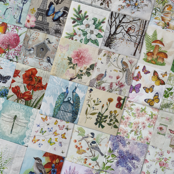 Assorted Decoupage Napkin Bundle - Set of 20