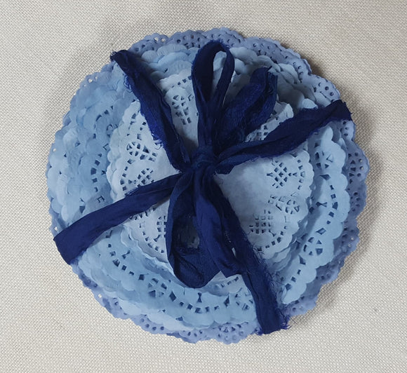 Hand Dyed Doily Pack - Blue Tones - Set of 25 - (HM-4151)
