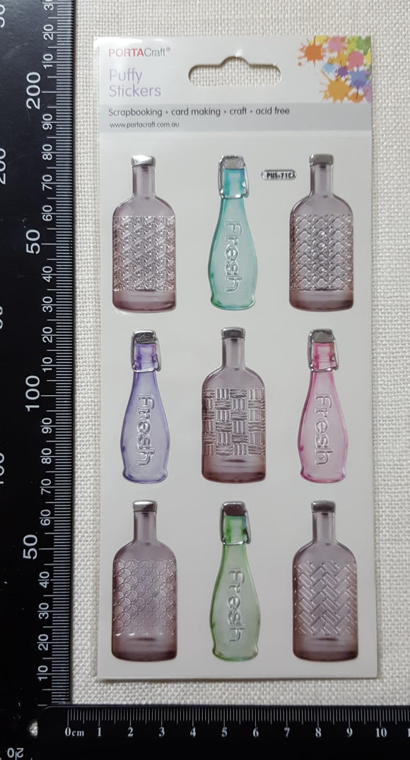 Embossed Stickers - Faux Glass Bottles - (ES-4254)