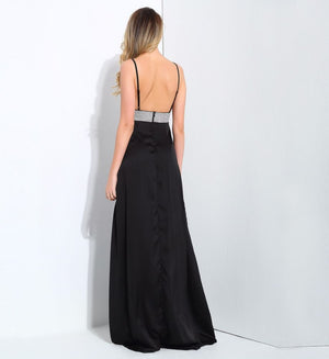 Black V-Neck Opens Back With Rhinestone-Trimmed Evening Dress