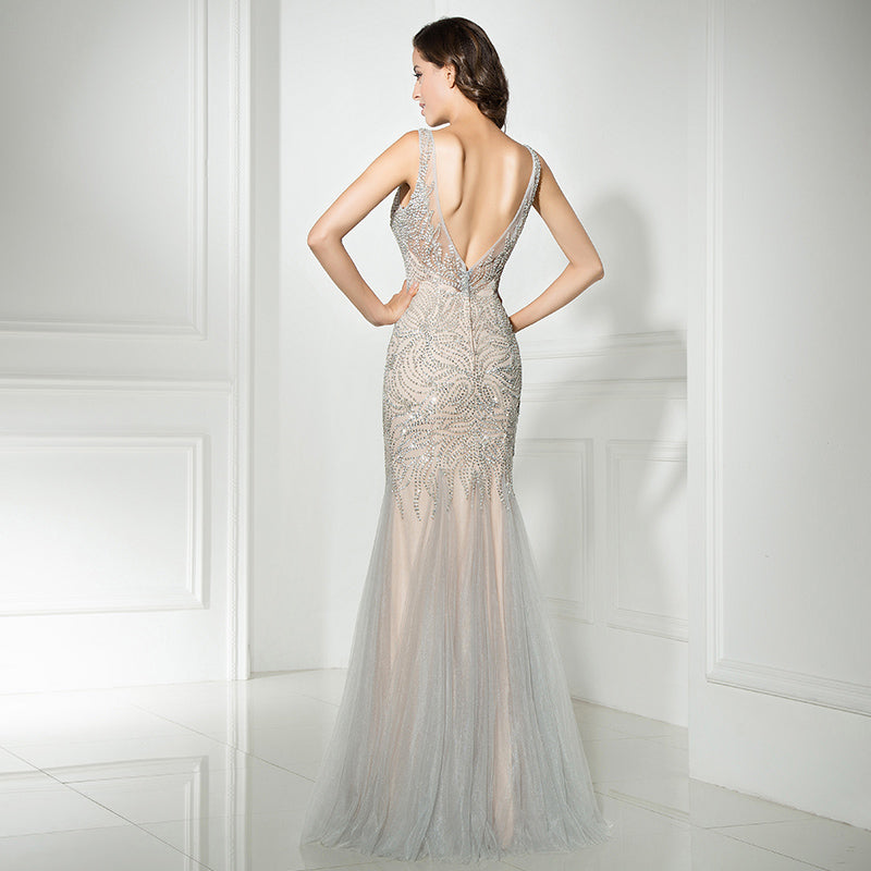 Beaded Floor Length Tulle Gown