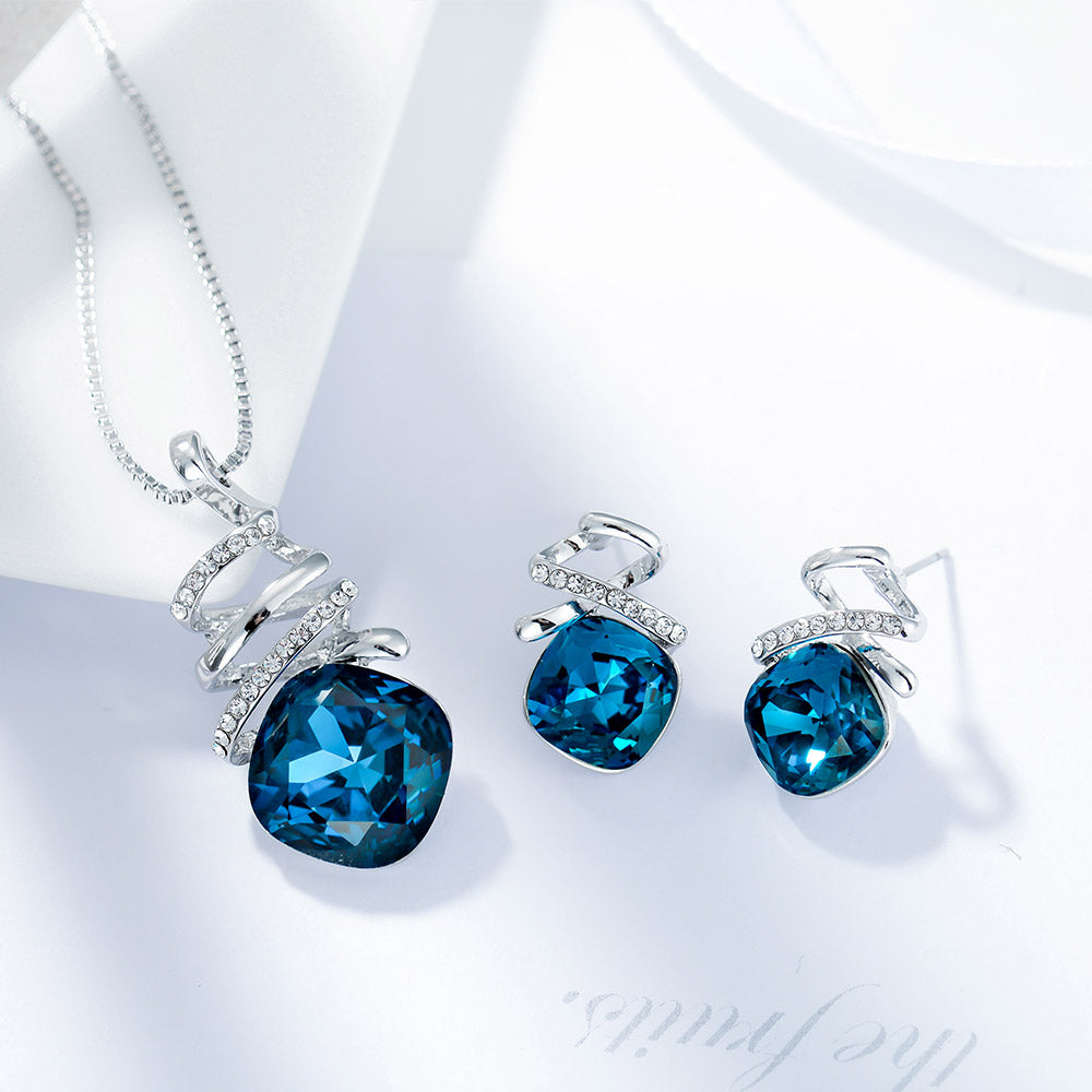 Blue Crystal Jewelry Sets for Women