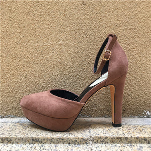 Sexy Platform  Plum High Heels with Ankle Strap