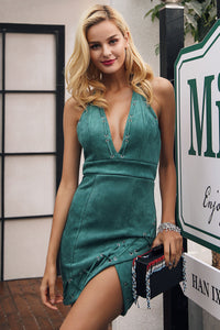 Backless Emerald Green Suede Mini Dress