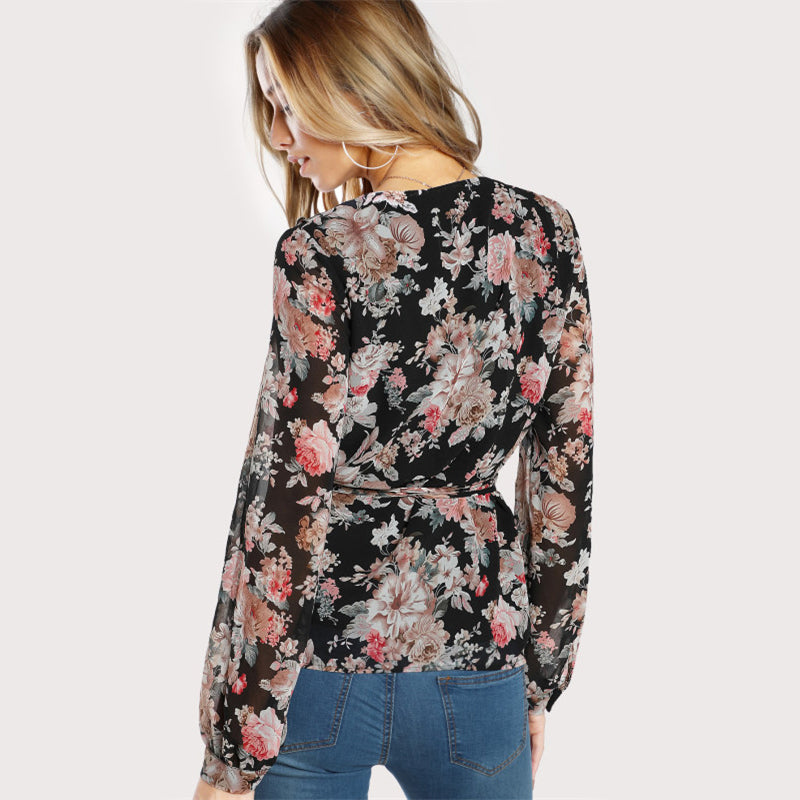 Frilled Neckline Wrap Top