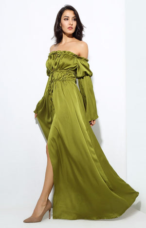 Emerald Green Shoulder Strap  Speaker Sleeves Maxi Dress