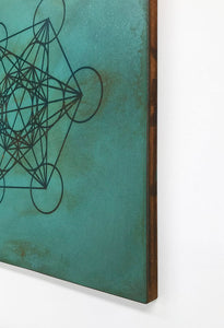 Metatrons Cube in Turquoise | Metal Wall Art