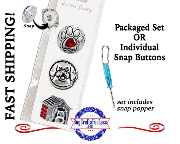 dog charm, dog snap button, paw print snap buttons, paw print charm, dog house charm, snap button, 18mm snaps, silver snap button, snap button with rhinestone, snap button jewelry, jewelry for snap buttons, jewelry for snaps, Etsy snap buttons, BuyCraftsForLess, Buy Crafts For Less, Etsy, gift for her, Richards Crafts