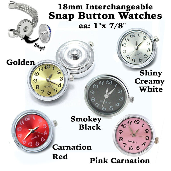 snap button watches, watch snap button, button snap watches, 18mm snaps, colored snap button, silver snap button, snap button with rhinestone, snap button jewelry, jewelry for snap buttons, jewelry for snaps, rhinestone charm, button charm, button snaps, Etsy snap buttons, Buy Crafts For Less, BuyCraftsForLess, gift for her, Richards Crafts