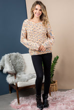 Coming and Going Twist-Back Sweater (cream/salmon/multi) full body view