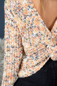 Coming and Going Twist-Back Sweater (cream/salmon/multi) fabric close-up