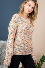 Coming and Going Twist-Back Sweater (cream/salmon/multi) front view