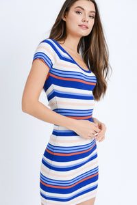 Yearning For Simplicity Striped Dress (navy/multi) side view 2