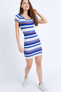 Yearning For Simplicity Striped Dress (navy/multi) full front