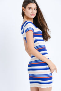 Yearning For Simplicity Striped Dress (navy/multi) side view
