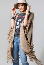 Options Galore Fringed Ruana Wrap (mocha)