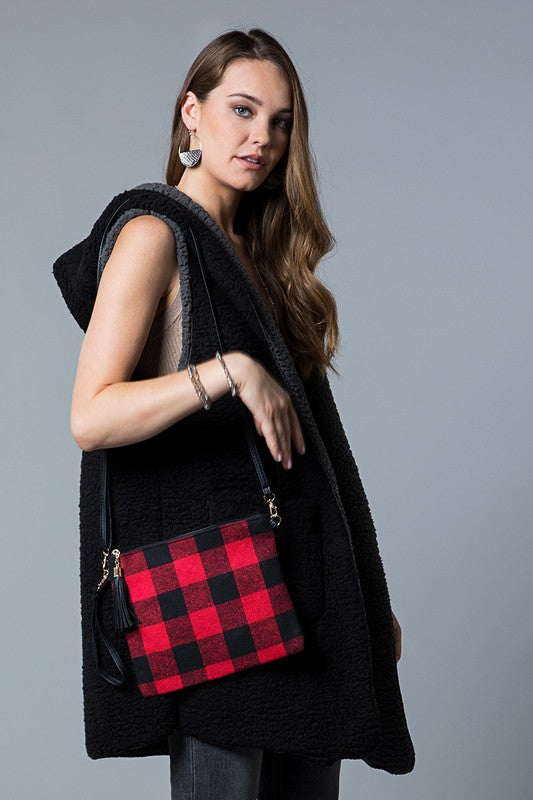 Flannel Buffalo Checkered Cross Body/Clutch Bag (Black/Red)