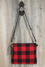 Flannel Buffalo Checkered Cross-Body/Clutch Bag (black/red)