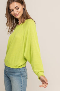 Best Friend Knit Top (lime) side view