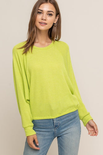 Best Friend Knit Top (lime) front view