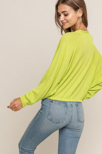 Best Friend Knit Top (lime) back view