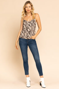 Come Closer Snake Print Cami (beige-black) full-length view