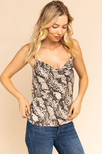 Come Closer Snake Print Cami (beige-black)