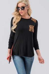 SophistiCat Leopard Trim Top - Black (front)