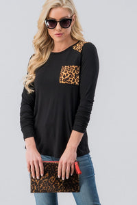 SophistiCat Leopard Trim Top - Black (front2)