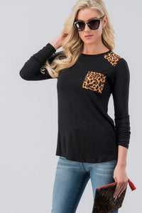 SophistiCat Leopard Trim Top - Black (front3)